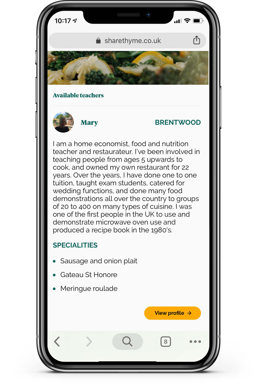Screen 2: Mobile view of the ShareThyme teacher page.